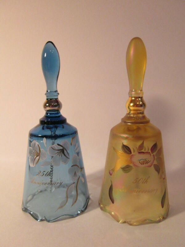 Fenton Bells 25th & 50th Anniversary 1)Blue & 2) Autumn Gold