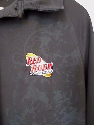 Red Robin Golf Shirt Mens Xl Extra Large Black Polo Gourmet Burgers Uniform