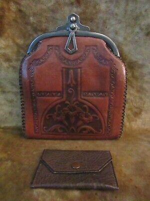 1920s Style Purses, Flapper Bags, Handbags Art Nouveau JEMCO 1920's Tooled Design Leather Purse/Very Good Condition! $44.99 AT vintagedancer.com