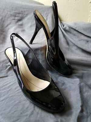 Round-toe Slingback Pump (Kate Spade Black Patent Leather Slingbacks 7.5 B Round Toe Pumps Platforms Heels)