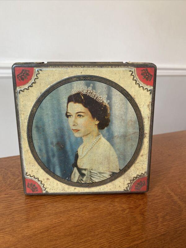 Elizabeth II Coronation Souvenir Tin 1953 Henry Thorne Co Leeds England