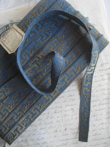 Antique/Vintage French Metallic Gold/Blue Greek Key Ribbon Trim Tape 11/16