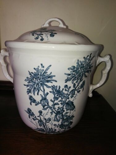 ANTIQUE - Maddocks Lamberton Large Two Handle Blue Floral Chamber Slop Pot