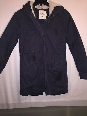 H&M Logg Blue Winter Hoodwd Parka W/ Removable Lining Size 8 Heavyweight Lined Parka
