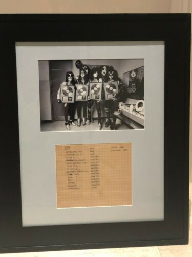 RARE KISS GENE SIMMONS Handwritten Gold record award list VINTAGE Paul Stanley