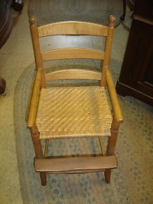 Antique Child's Youth Chair with Herringbone Seat. 8059