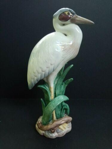 "FITZ & FLOYD Porcelain HERON Bird Figurine, 9"" tall, Pristine"