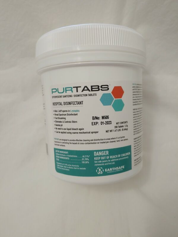 PURTABS Hospital Gr. viral disinffect- 200 Ct Effervesent 3.3g Tablets-virucide