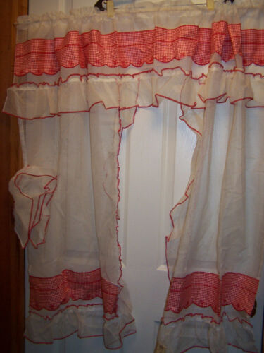DOTTED SWISS KITCHEN CURTAINS NOS RED & WHITE CHECK
