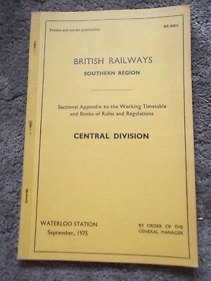 1975 B.R. - S.R. Central Division. Sectional App. to Working TT and Rules (T266)