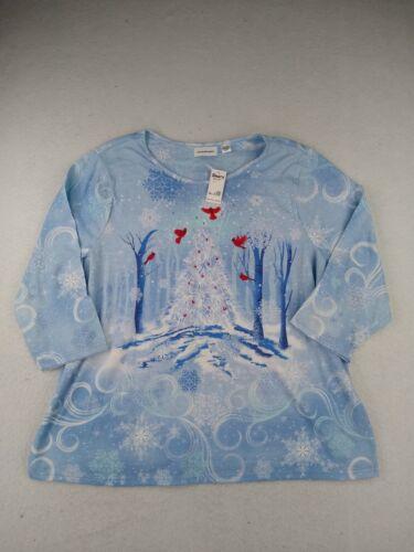 IB Diffusion - 3/4 Sleeve Round Neck Christmas Shirt - Women - 2X - Blue