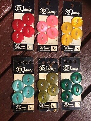 Vintage Buttons Various Colours Glamor 6 Cards (4x22mm )Musty Card