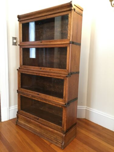 ANTIQUE OAK BARRISTER LAWYERS STEPBACK BOOKCASE 4 SECTION, LOCATED in BOSTON, MA