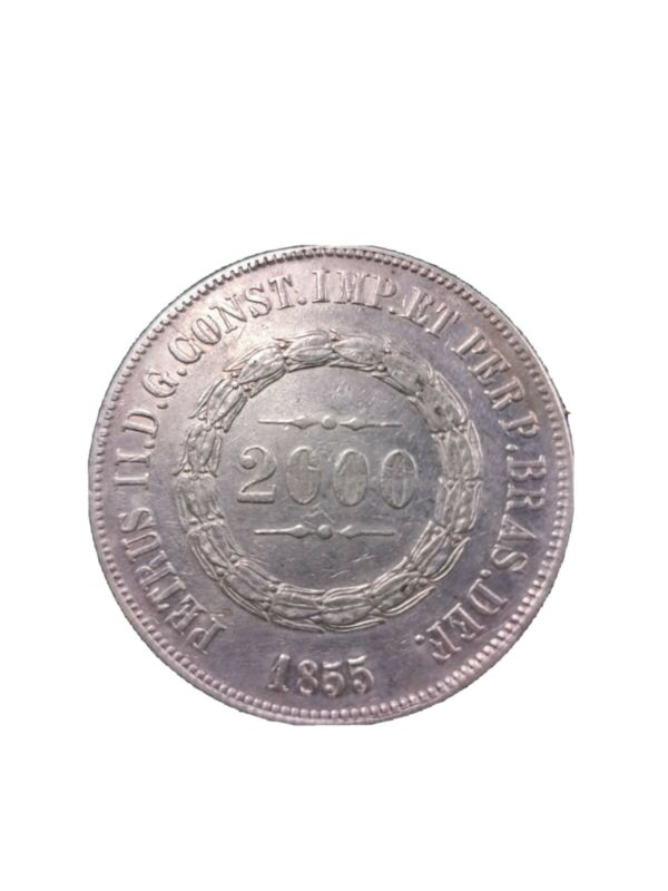 BRAZIL 2000 REIS 1855, SILVER VERY NICE CONDITION KM#466