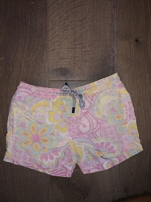 Used VILEBREQUIN Boy's Swim Trunks Size 6 Blue With Pink.
