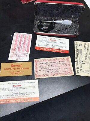 Starrett Micrometer 436-1 Measures 0 To 1 Inch New With Case