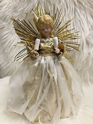 Angel Tree Topper Light Up Holiday Christmas Works Gold & White