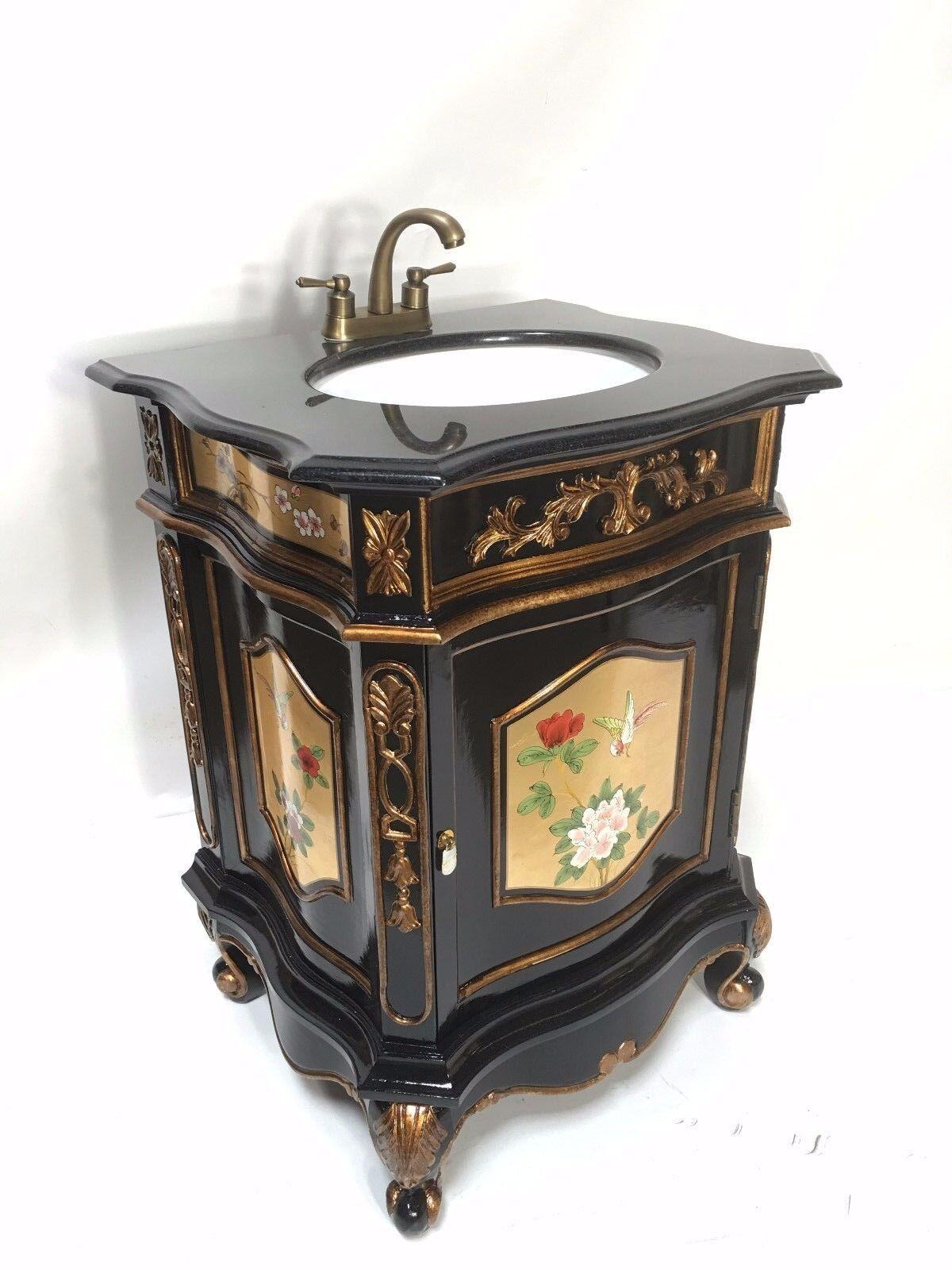 26 Oriental Furnitue Vanity Cabinet Chinese Gold Leaves Hand Painted Vanity Ebay