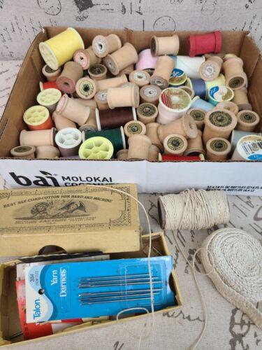 Vintage Lot of EMPTY Wooden Spools - Crafts Repurpose- JP Coats & More w/ Thread