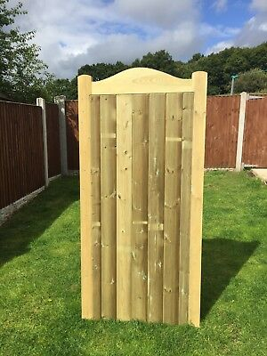Ostlyn Solid Bow Top Timber Gate. Bespoke Wooden Gates Made To Order. Treated