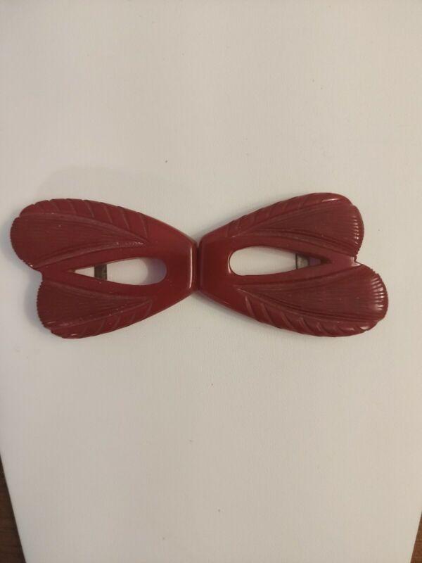 Vintage Cherry Red Carved Bakelite Belt Buckle