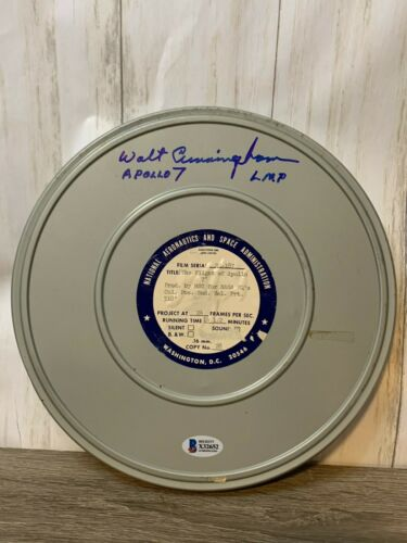 Walt Cunningham signed original 16mm NASA Apollo 7 Film Canister Beckett COA