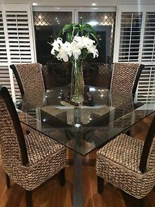Modern Glass Top Dining Table & Near New 4 Chairs Coomera Gold Coast North Preview