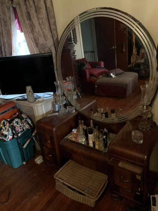 Vintage Unique Mirror  Art Deco Waterfall Vanity all Original! Selling home!!!