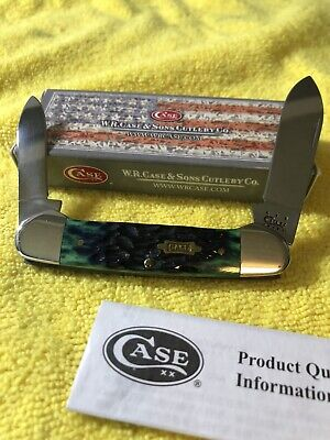 CASE Canoe 2-blade Pocket KNIFE Stainless Hunter Green Bone 62131SS W/BOX