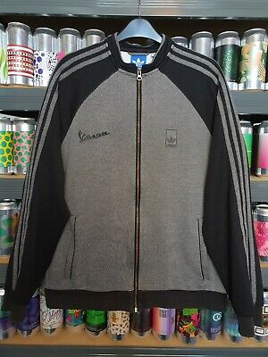 🛵⚫ Adidas Vespa Mens Medium Tracksuit Jacket Track Top Crew Neck Retro Rare