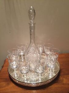Pinwheel crystal Decanter and 10 glasses