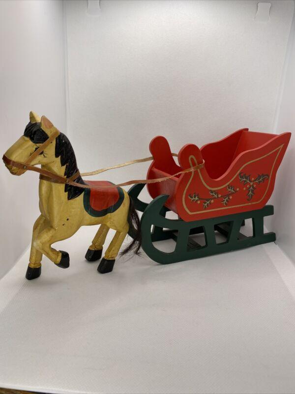 "Kurt Adler Wooden Horse & Sleigh Card Holder Christmas Original Box 12.5"" Long"