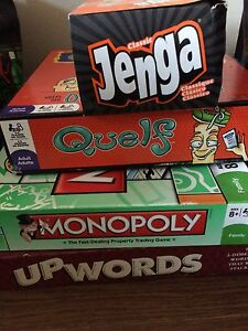 Board games - monopoly, Jenga, quelf, upwords - 10$pp/30$ all