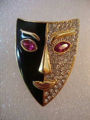 Vtg Signed Art Deco Style Mask Face Pin Brooch Black Enamel Clear Rhinestones - Clear Face Mask Costume