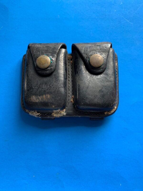 Vintage Black Leather Ammo Case Wasketweave