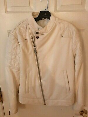 Versace Collection Womens Leather Jacket Ivory Size 48 IT US 12