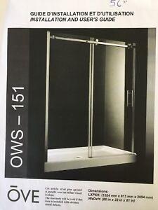 Porte de douche 56 pouces