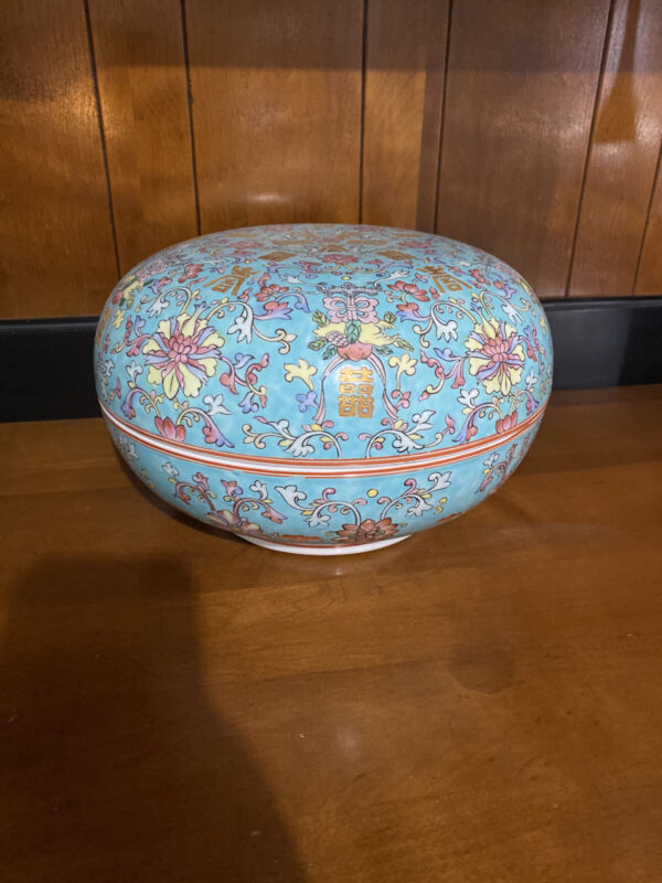 """Large Circular Porcelain Chinese Box With Lid 10.5"""" Famille Rose Qianlong Stamp"""