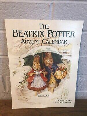 Vintage Beatrix Potter Peter Rabbit Paper Christmas Advent Calendar 1988