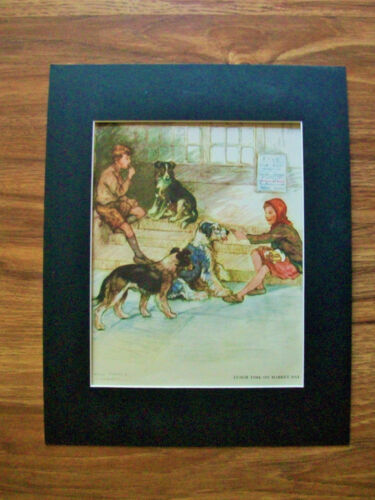 Print Sheepdog Collie Vernon Stokes Kids Market Day Lunch Bookplate 1947 Matted