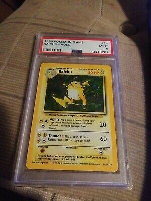 PSA 9 Raichu Base Set Pokemon 1999 Original Holo Card #14 Mint WOTC!