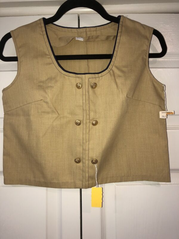Vintage NOS NWT Tan Crop Top Gold Buttons Navy Piping Sz 12 Retro Unbranded