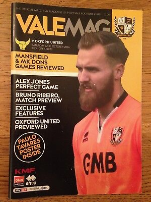 Port Vale v Oxford United - League 1 - 22nd October 2016 - Football Programme