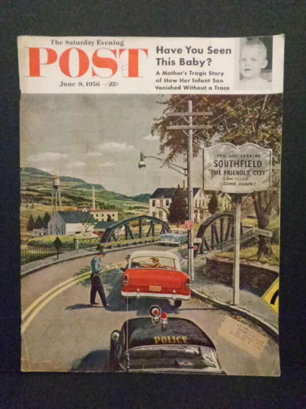 POST MAGAZINE COVER, ORIGINAL, POLICE THEME, 1956, POLICEMAN WRITING TICKET