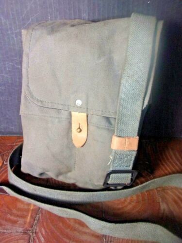 YUGO MILITARY SURPLUS **_**CANVAS 4  MAG POUCH/ LEATHER LINED,SHOULDER STRAP