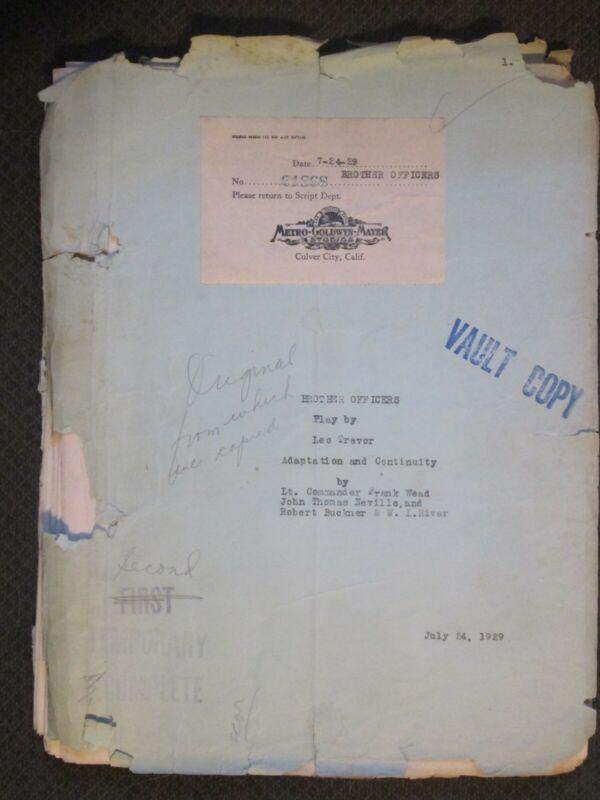 Brother Officers - Original 1929 MGM Vault Script - Wead - Neville - Buckner