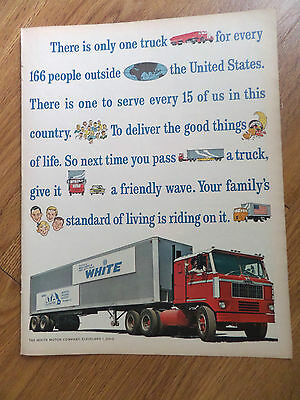 1964 White Motor Company Cleveland Ohio Trucks Ad Give it a Friendly Wave