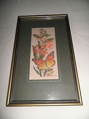 J&J CASH FRAMED WOVEN SILK  EMBROIDERY of a MONARCH BUTTERFLY