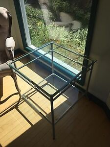 Glass coffee table and two side tables