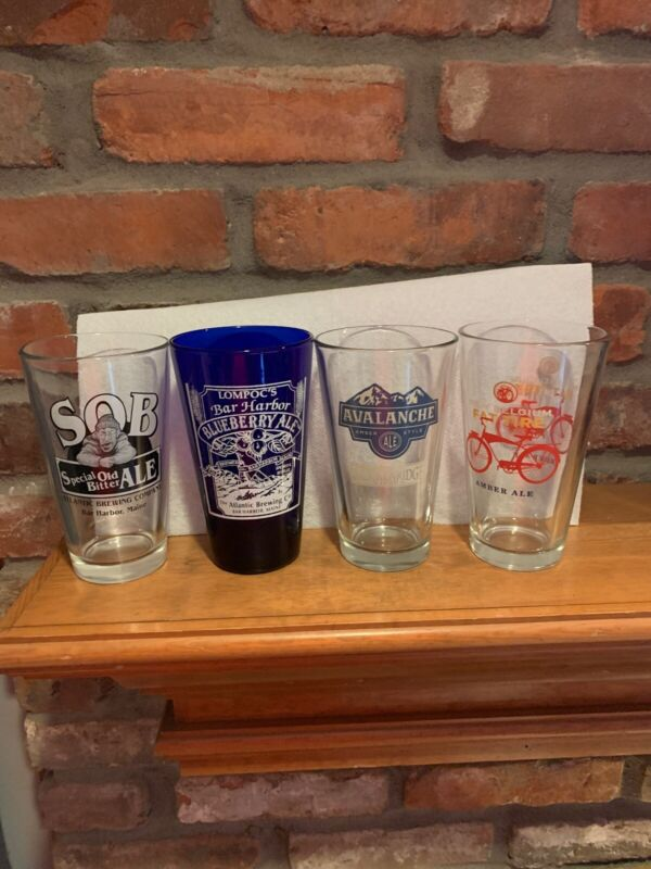 Lot of 4 Craft Beer Brewery Pint Glasses